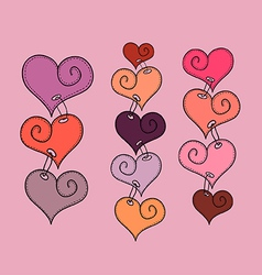 Stitched hearts vector