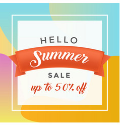 summer discount flat banner template vector image