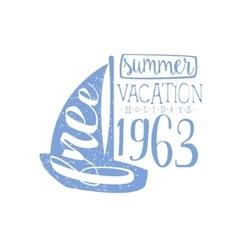 Summer Holidays Vintage Emblem With Sailing Boat vector