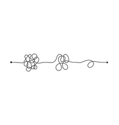 Tangled line complex knot rests in straight line vector