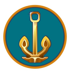 the gold anchor on the blue backgr vector image