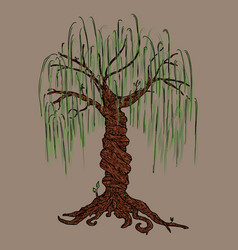 Tree icon big willow hand drawn weeping vector