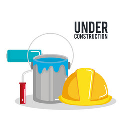 Under construction poster paint roller bucket and vector