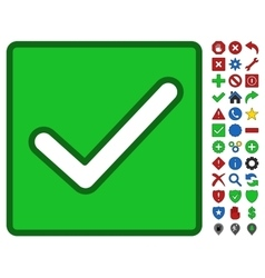 Valid Checkbox Symbol With Toolbar Icon Set vector