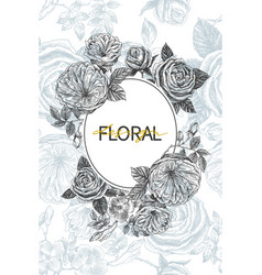 vintage flowers blossom frame with seamless vector image
