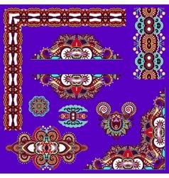 violet colour set of paisley floral design vector image