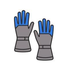 winter ski gloves color icon vector image