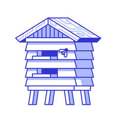 wooden bee house icon vector image
