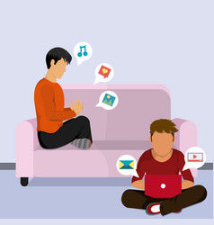Young mens at home navigating on internet vector