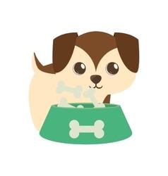dog little brown bowl food b print vector image vector image