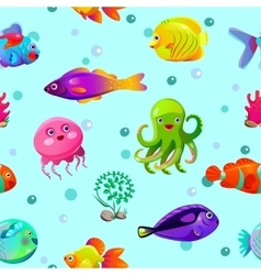 Funny seamless pattern with underwater characters vector image