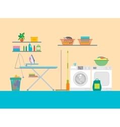 Interior Laundry Room with Furniture vector image vector image