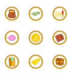 Money banking icon set cartoon style vector