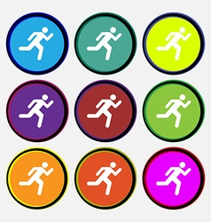 running man icon sign Nine multi colored round vector image vector image
