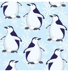 Seamless pattern penguins and snowflakes vector image