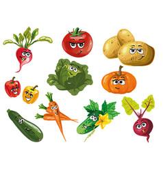 cute vegetables cartoon characters vector image vector image