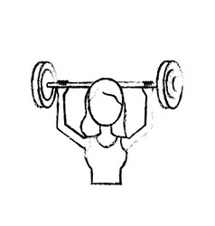 Figure woman with dumbbell to do exercise vector