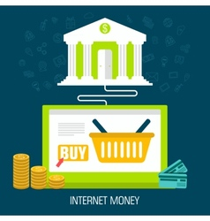 Flat internet money on laptop from bank background vector