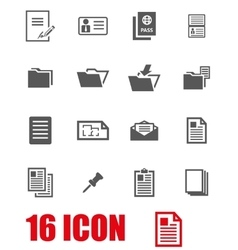 grey document icon set vector image vector image