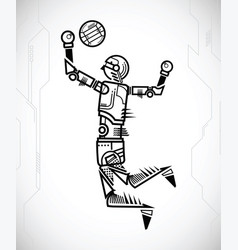 robot playing volleyball vector image vector image