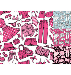 summer fashion seamless patternwoman colored wear vector image