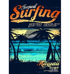 Tropical surfing at Hawaiian surf beach vector image vector image