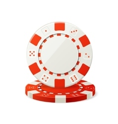 Gambling Red and White Poker Chips vector image