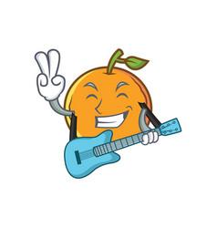 orange fruit cartoon character with guitar vector image vector image