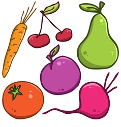 set Fruits and vegetables vector image