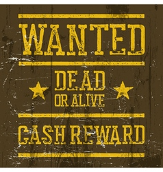Wanted poster Wild West Design template Wanted vector image vector image