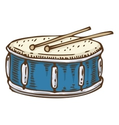 Blue Drum with Drumsticks vector image