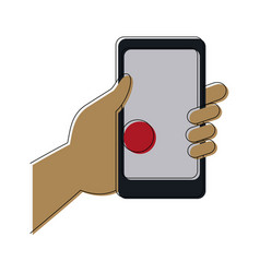 hand holding smartphone with pin map app vector image vector image