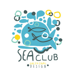 sea club logo original design summer travel and vector image