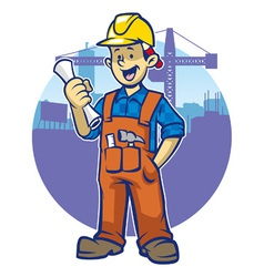 smiling construction worker wear a hard hat vector image vector image