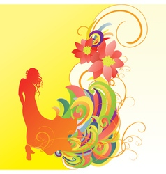 woman in gown silhouette bright yellow vector image