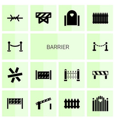 14 barrier icons vector