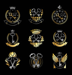 Ancient keys emblems set heraldic coat of arms vector