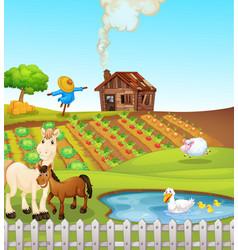 Animals on farm scene vector