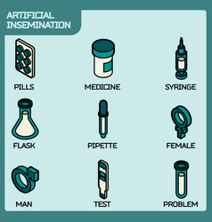 Artificial insemination icon set vector