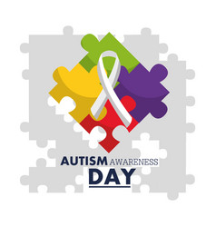 Autism awareness day emblem design template vector