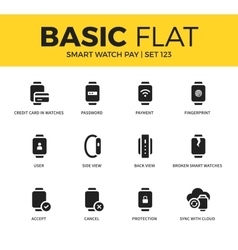 Basic set of Smart watch pay icons vector