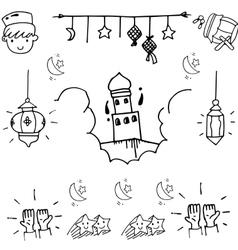 BEauty element eid mubarak doodle vector
