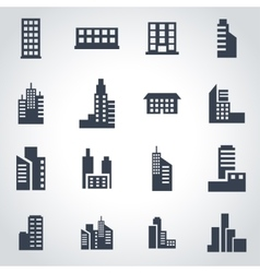 black building icon set vector image
