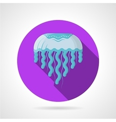 Blue jellyfish flat round icon vector
