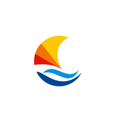 Boat abstract colorful logo vector