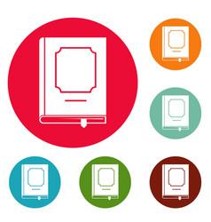 book design icons circle set vector image