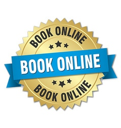 book online 3d gold badge with blue ribbon vector image