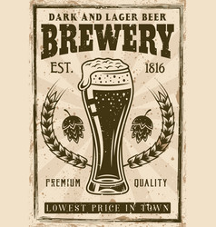 brewery vintage poster with beer glass vector image