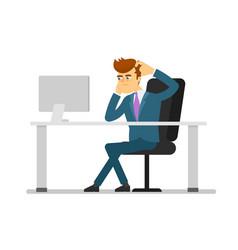 Businessman entrepreneur working on computer vector