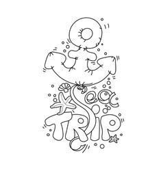 Cartoon doodle lettering Sea Trip vector image